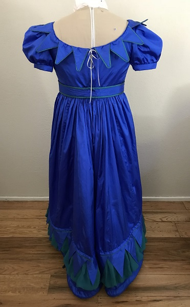 Reproduction 1820s Blue Dress with Van Dyke Points Back.
