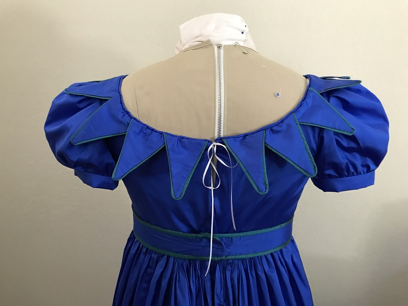 Reproduction 1820s Blue Dress with Van Dyke Points Bodice Back.
