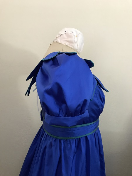 Reproduction 1820s Blue Dress with Van Dyke Points Bodice Right.