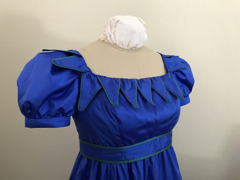 Reproduction 1820s Blue Dress with Van Dyke Points Bodice Right Quarter View.