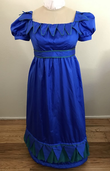 Reproduction 1820s Blue Dress with Van Dyke Points Front.