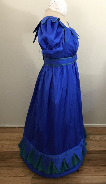 Reproduction 1820s Blue Dress with Van Dyke Points Right.