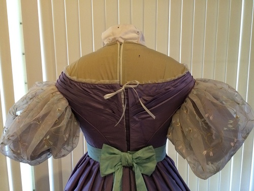 1830s reproduction lavender purple silk romantic era dress back with hooks and eyes gaped