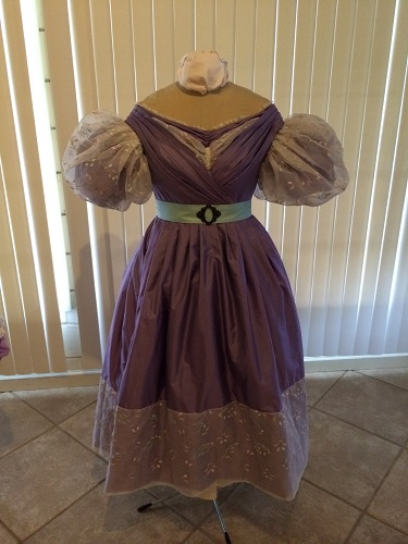 1830s reproduction lavender purple silk romantic era dress front