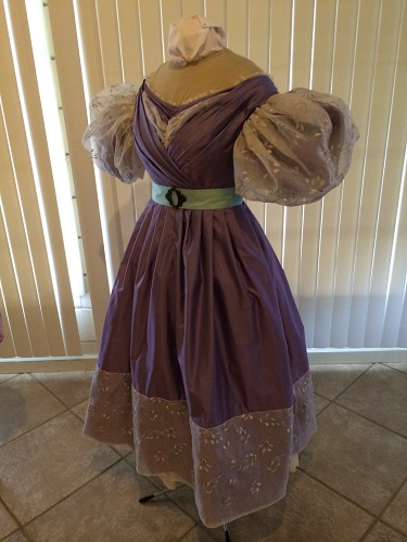 1830s reproduction lavender purple silk romantic era dress quarter view