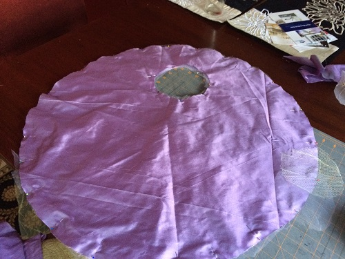 1830s reproduction lavender purple silk romantic era dress sleeve piece