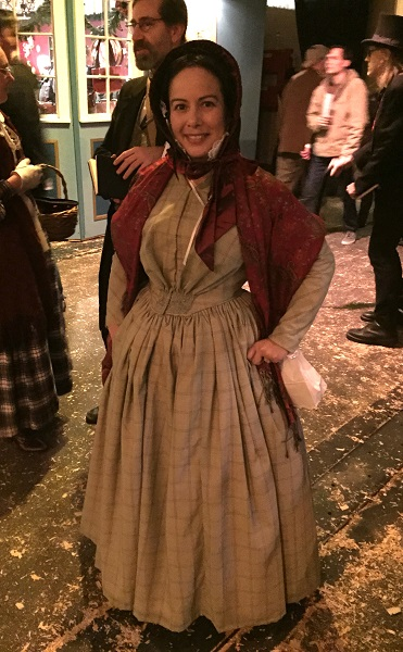 1840s Reproduction Fan Front Beige Plaid Daydress. Dickens Fair 2015. Photo by Vivien Lee.