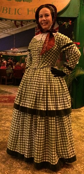 1840s Reproduction Green Plaid Daydress. Dickens Fair 2015.