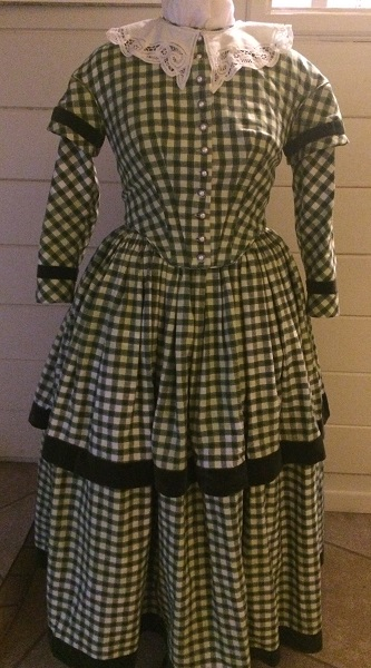1840s Reproduction Green Plaid Daydress Front