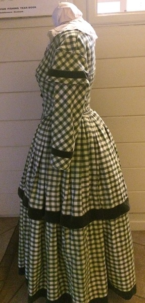 1840s Reproduction Green Plaid Daydress Left