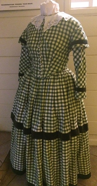 1840s Reproduction Green Plaid Daydress Left 3/4 View