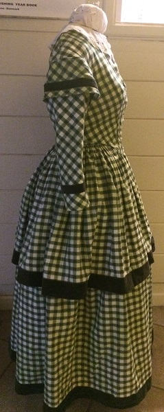1840s Reproduction Green Plaid Daydress Right