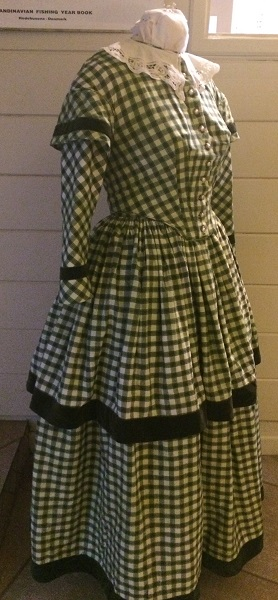 1840s Reproduction Green Plaid Daydress Right 3/4 View