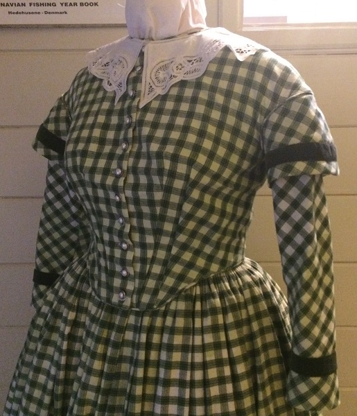 1840s Reproduction Green Plaid Bodice Left 3/4 View