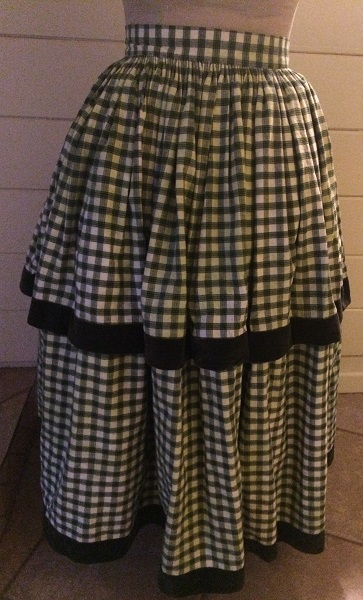 1840s Reproduction Green Plaid Skirt
