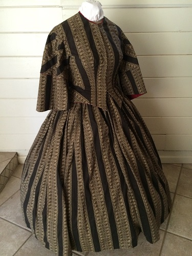 Reproduction Victorian Beige and Black Day Dress.