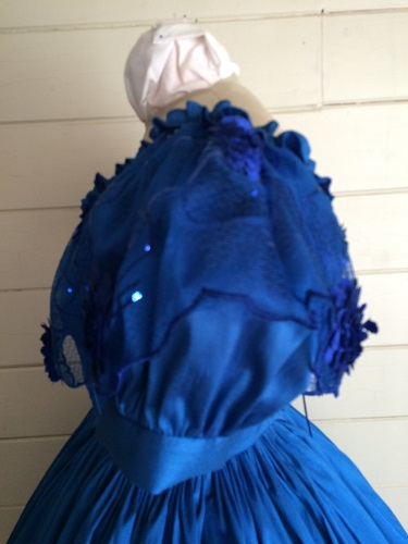 1850s Reproduction Victorian Blue Ballgown Bodice Left