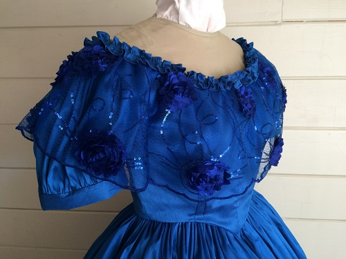 1850s Reproduction Victorian Blue Ballgown Bodice Right 3/4 View
