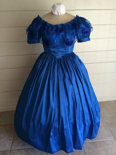 1850s Reproduction Victorian Blue Ballgown Front