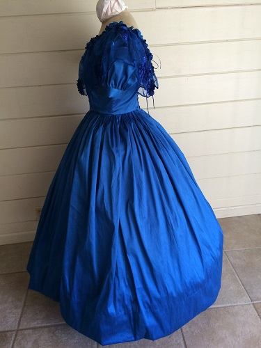 1850s Reproduction Victorian Blue Ballgown Left