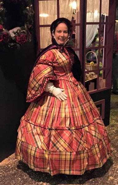 1860s Reproduction Red Plaid Daydress. Dickens Fair 2014. Photo by Vivien Lee