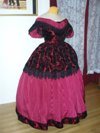 Victorian style burgandy ballgown (reproduction) quarter view