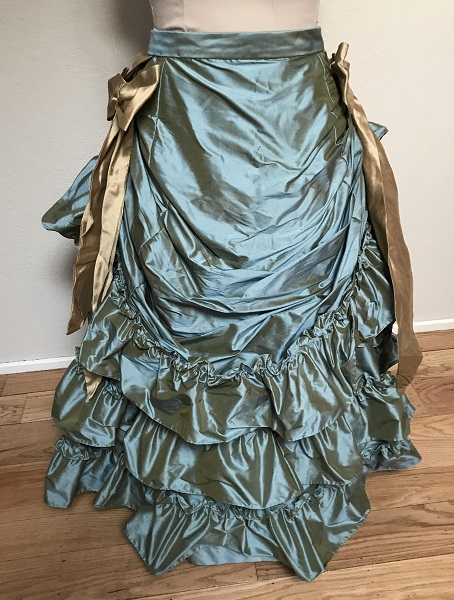 1870s Reproduction Blue Aqua Silk Overskirt Front.