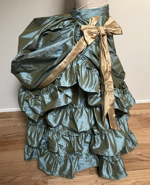 1870s Reproduction Blue Aqua Silk Overskirt Right.