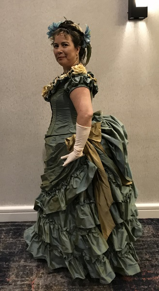 1870s Reproduction Blue Aqua Bustle Dresses at Costume College 2018 Gala.