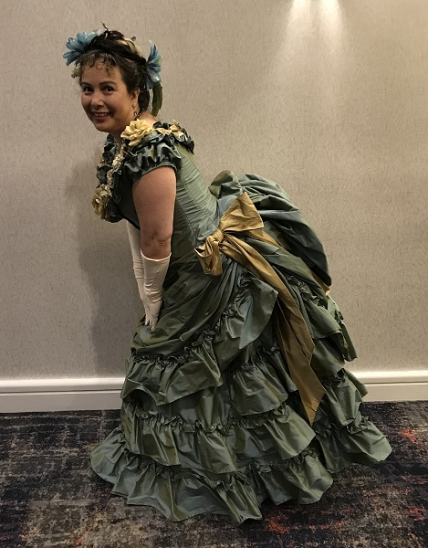 1870s Reproduction Blue Aqua Bustle Dresses at Costume College 2018 Gala..
