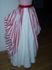 Reproduction 1887 red stripe bustle overskirt: right view