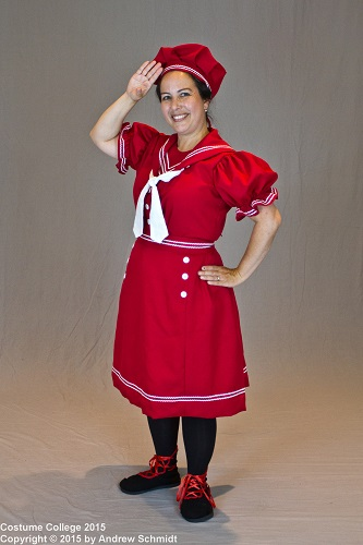 1890s Reproduction Bathing Costume Red. Photo by Andrew Schmidt.
