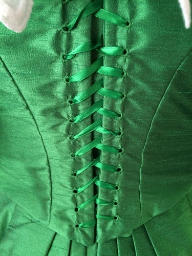 1890s Reproduction Green Ball Gown Bodice Back Lacing