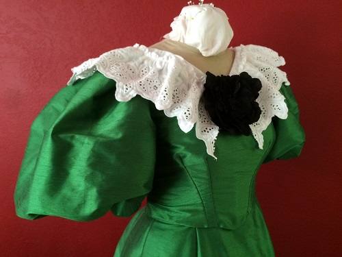 1890s Reproduction Green Ball Gown Bodice Right Quarter