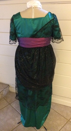 1910s Reproduction Green and Black Evening Dress Back