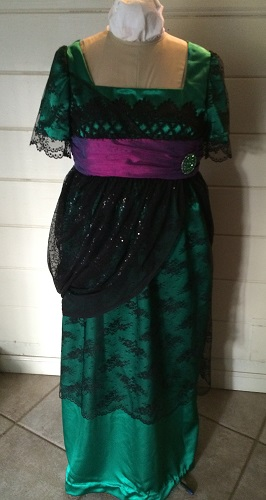 1910s Reproduction Green and Black Evening Dress Front