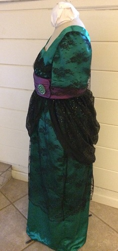 1910s Reproduction Green and Black Evening Dress Left