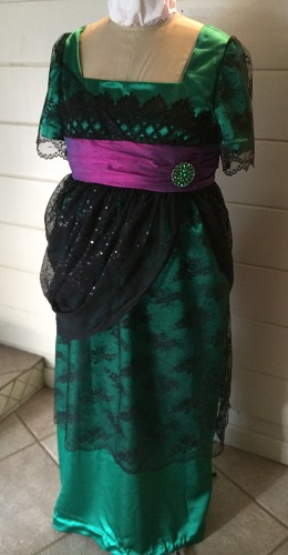 1910s Reproduction Green and Black Evening Dress Left 3/4 View