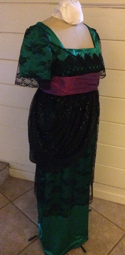 1910s Reproduction Green and Black Evening Dress 3/4 View