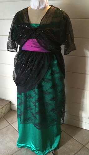 1910s Reproduction Green and Black Evening Dress With Over Bodice Wrap