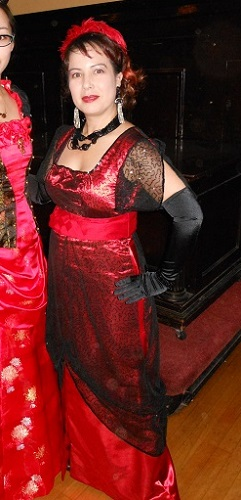 1910s reproduction evening dress - red and black