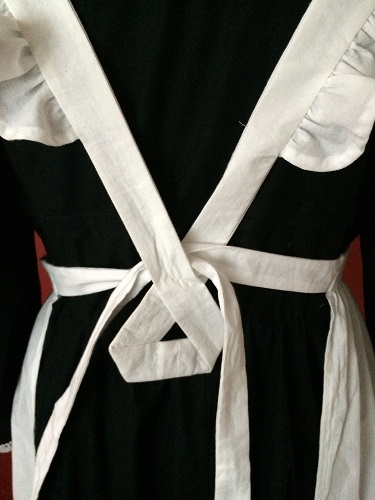 1910s Reproduction Edwardian Maid Apron Back Ties with tacked loop.