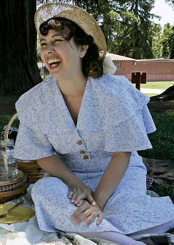 1930s reproduction day dress. Photo by Lauren of the Mercury News.