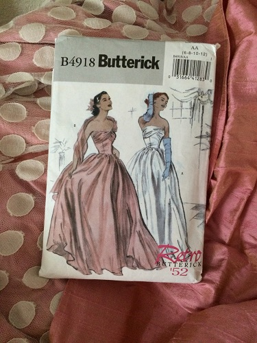 1952 reproduction retro Butterick 4918 pink silk evening dress with ivory spotted dotted net