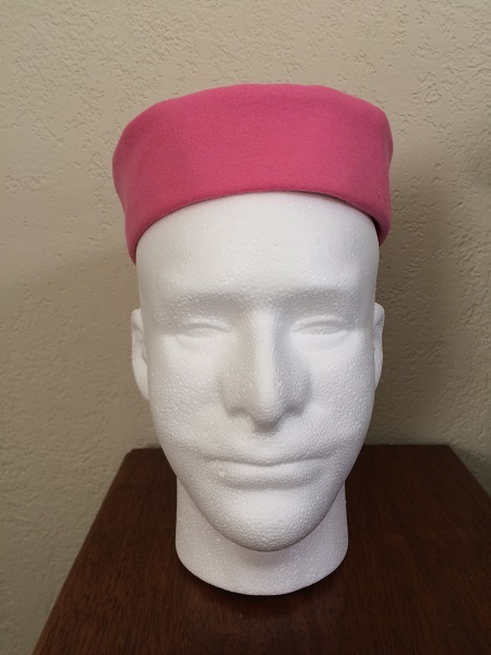 Reproduction Pink Wool Pillbox Hat Front.