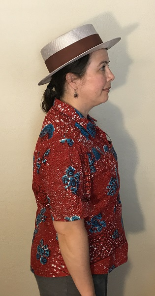 Butterick 6085 Misses' Red with Blue Porcupine Print Shirt Right