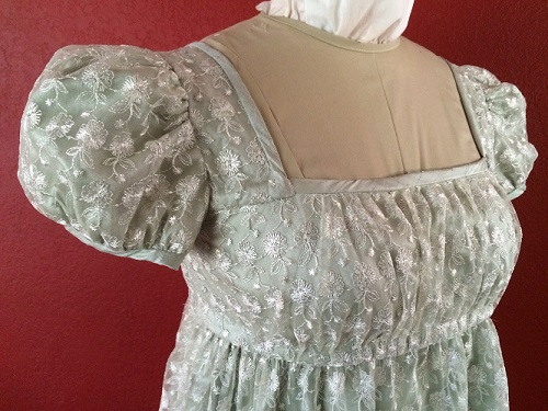 Reproduction Regency Ice Green Evening Dress Bodice Detail.