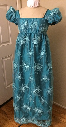 Reproduction Regency Peacock Teal Evening Dress Front. Butterick B6074 View B