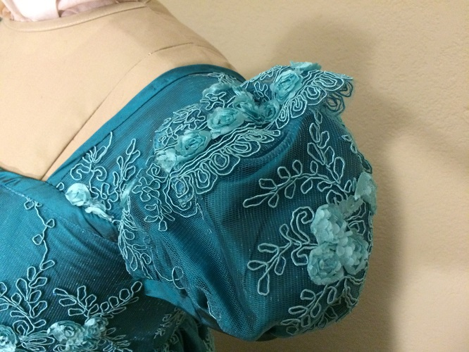 Reproduction Regency Peacock Teal Evening Dress Sleeve Detail.
