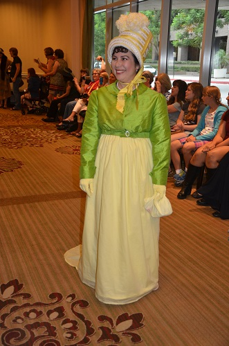 Reproduction Regency Yellow Dress with Green Spencer. Photo by Amy Osterholm.